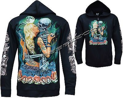 New Grim Reaper With Blond Girl Glow In The DarK Zip Zipped Hoodie Hoody Jacket