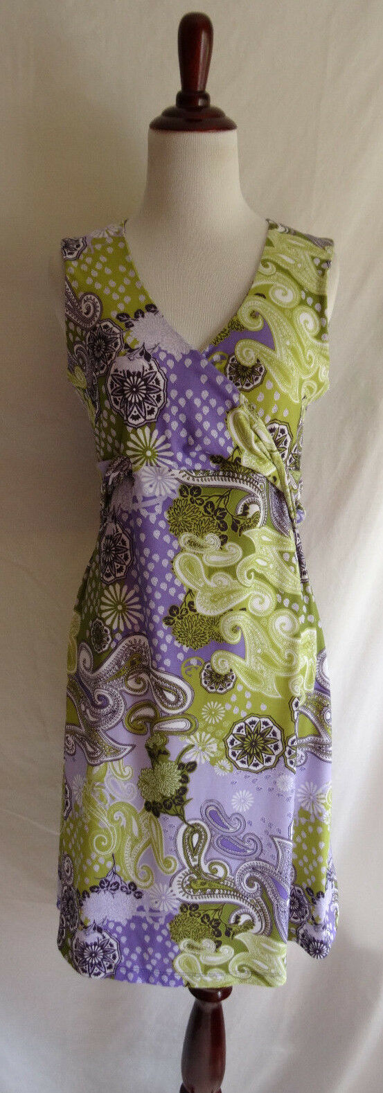 Prana M Green Purple Mixed Paisley Daisy Print Dazzle Jersey Knit Stretch Dress