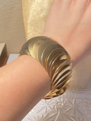 VTG High End Mid Century Bracelet Statement Gold P
