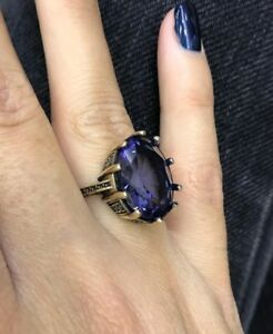 925-Sterling-Silver-Handmade-Authentic-Turkish-Amethyst-Ladies-Ring-Size-7-9