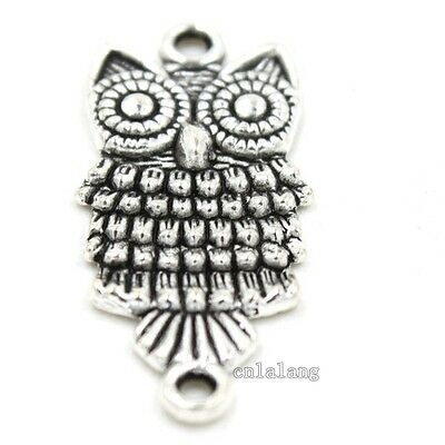 50pcs New Antique Silver Cute Owl Charms Alloy Connector Handmade Gifts C