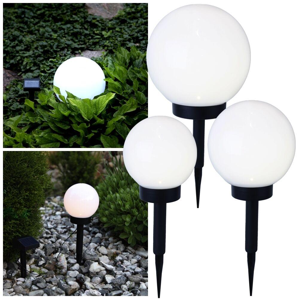 LED Solar-Kugel-Lampe  Globe-Light  Solarlampe Solarleuchte Gartenkugel Set 30cm