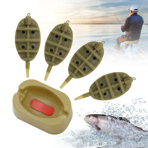 4 /& 1 Inline Flat Method Feeder Mould Kit Outdoor Carp Fishing Tackle Tool NEW