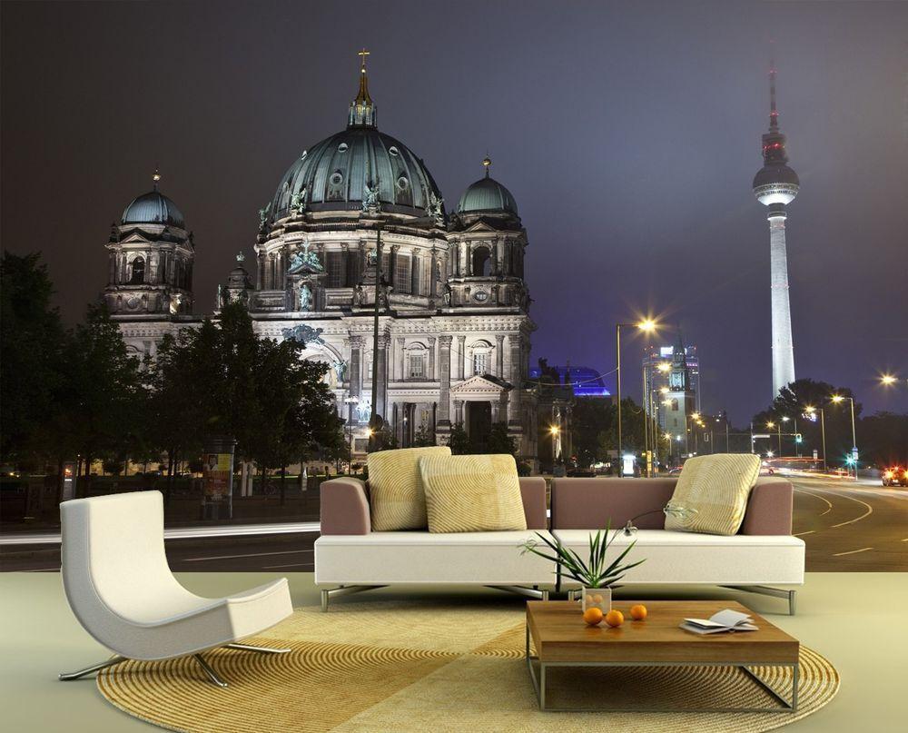 Fototapete Berliner Dom und Fernsehturm bei Nacht