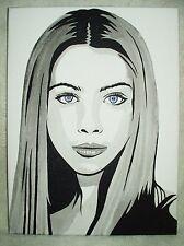 Canvas Painting Michelle Trachtenberg Buffy Portrait B&W Art 16x12 inch Acrylic