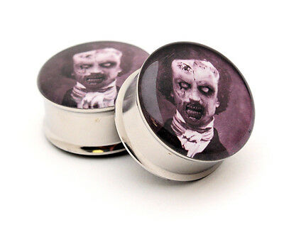 Pair of Zombie Edgar Allan Poe Picture Plugs gauges Choose Size new