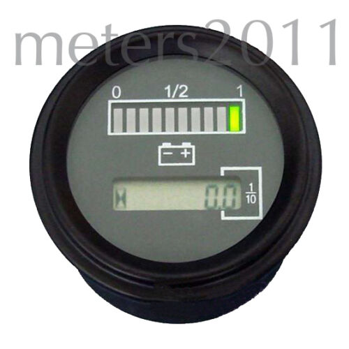 "2/"" 24 Volt Battery Indicator w// Hour Meter Gauge ROUND Tri-color"