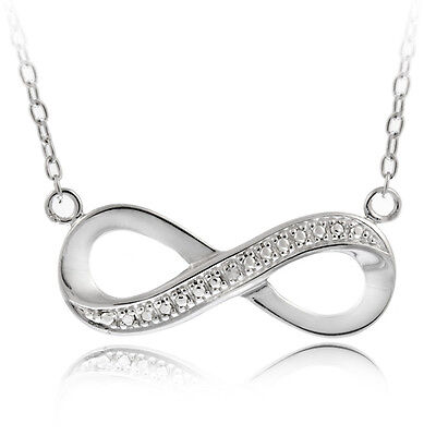 """Silver Tone Diamond Accent Infinity Necklace, 18"""""""