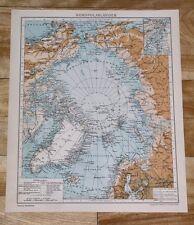 1929 ORIGINAL VINTAGE MAP OF NORTH POLE POLAR ARCTIC GREENLAND ALASKA RUSSIA