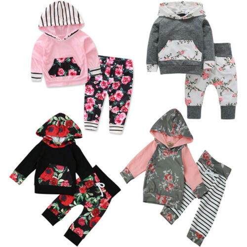 Newborn Toddler Baby Girl Floral Hoodies Tops+Long Pants Outfit Clothes 2PCS//Set