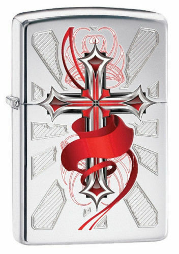 Zippo 28526, Cross & Red Ribbon, High Polish Chrome Finish Lighter, Full Size