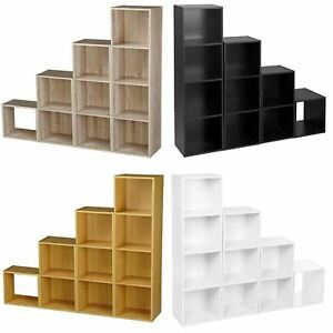 Wooden-Storage-Unit-Cube-2-3-4-Tier-Strong-Bookcase-Shelving-Home-Office-Display