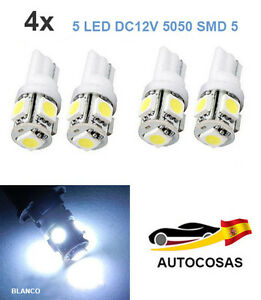 4-x-T10-5050-5-SMD-5-LED-194-168-W5W-Bombilla-Coche-T5-DC12V-Blanco-6000K