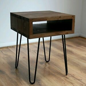 the best attitude 490ca 435ff Details about Vintage Retro Industrial Side Table Metal Hairpin Legs, Solid  Wood. Rustic, Unit
