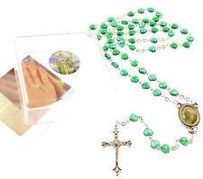 Catholic iridescent green glass heart St. Patrick Irish rosary beads in box