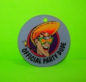 Party-Zone-Dude-Pinball-Keychain-Original-Bally-NOS-1991-Promo-Space-Age-Guy