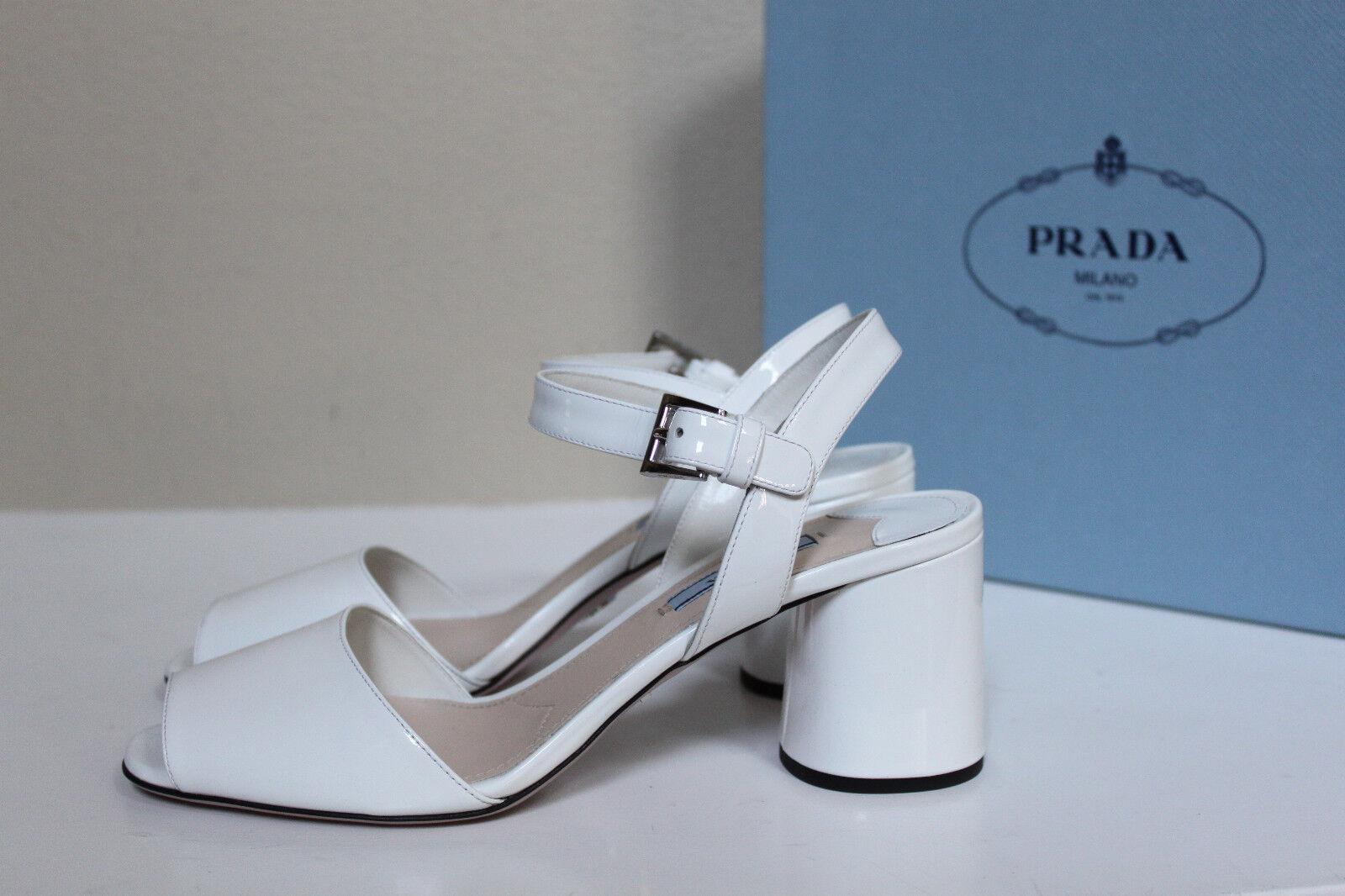 New sz 8.5 / 39 Prada Weiß Patent  Leder Heel Mary Jane Sandal Block Heel Leder schuhes 987ca0