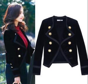 079e3402dbef Details about Womens Black Velvet Double Breasted Lapel Formal Blazer  Jacket Slim Outwear E663