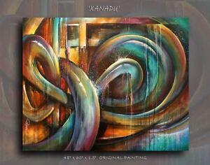 Large-Original-PAINTING-039-XANADU-039-Contemporary-Art-DECOR-Mix-Lang-cert-Abstract