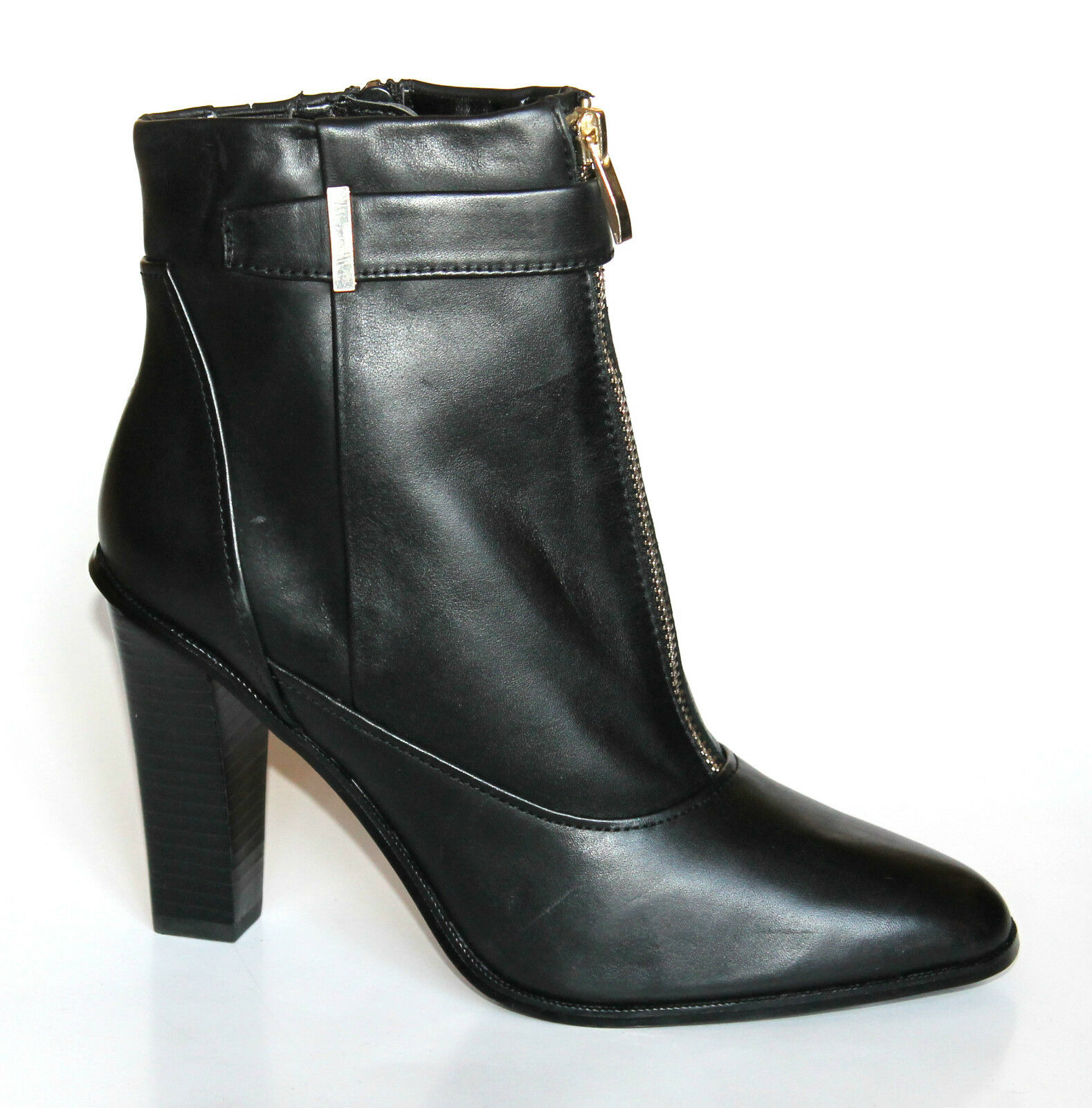 M&S Autograph Ladies UK 5 (EU 38) Black Leather High Heel Zip Up New Ankle Boots