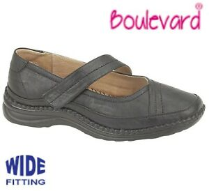 LADIES-Extra-Wide-EEE-Fit-Touch-Fastening-Black-Bar-Shoes-Size-3-4-5-6-7-8-9