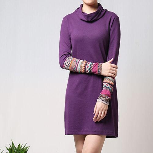 Création Robe T-shirt ethnique col roulé manches fantaisies violet T.40 51071