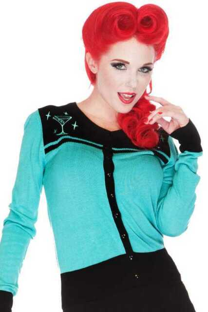 Voodoo Vixen Martini Cardigan Teal Aqua 50s PinUp Rockabilly Punk Vintage S-XL