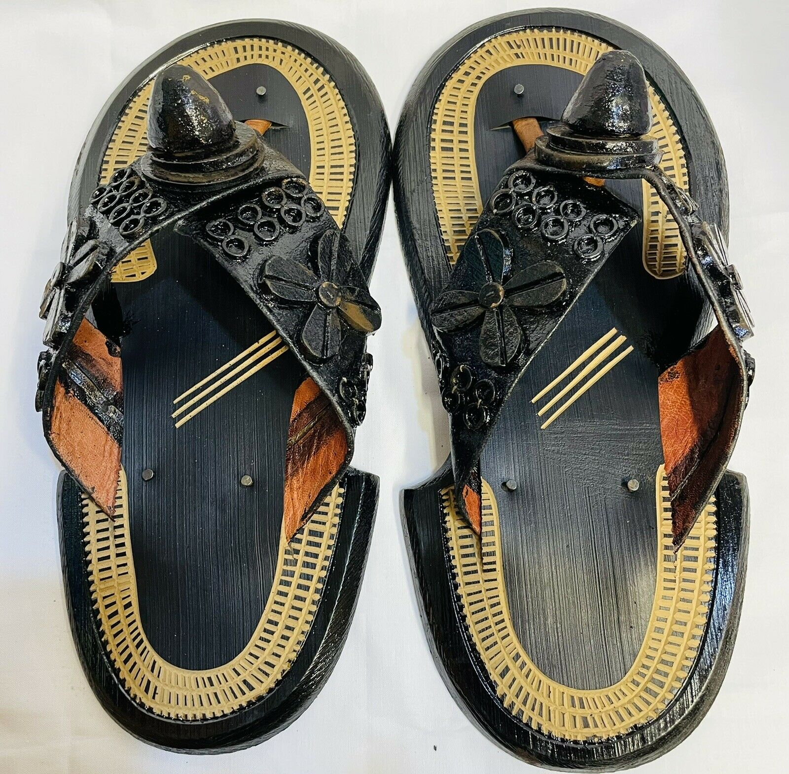African Men Authentic Ahenma Traditional Ghanaian Leather Handmade Slippers.wedd