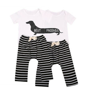 321693896 Matching Infant Twin Baby Boy Girl Best Friends Dog Romper Striped ...