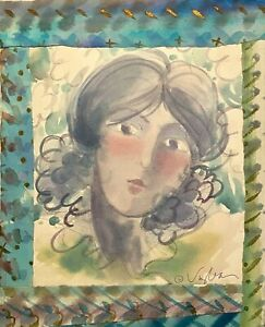 MILDA VIZBAR NEW YORK CITY 1933-2019 IMPRESSIONIST MODERNIST PORTRAIT PAINTING