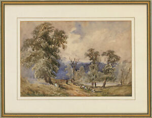 Framed-Late-19th-Century-Watercolour-Sheep-in-a-Landscape
