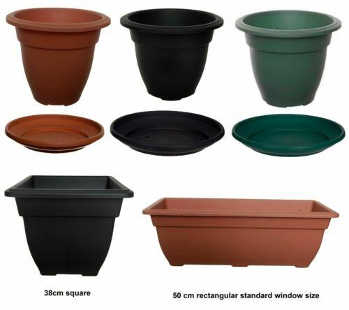 Rond Carré Rectangulaire en Plastique Plante Pot De Fleur Pots Jardiniere Conteneur Grow