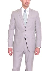 Bar-III-Slim-Fit-Light-Gray-Stepweave-Two-Button-Wool-Blend-Suit-42S-38x34
