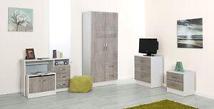 Marina Grey Oak Gloss & Ash White | Modern Bedroom Furniture ...