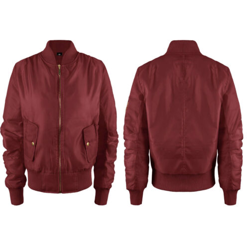 Womens Ladies Classic Padded Bomber Jacket Vintage Zip Up Biker Stylish Coat