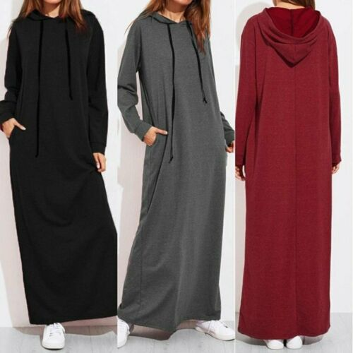 Winter Autumn Women Long Sleeves Ankle-length Solid Color Hooded Pullover