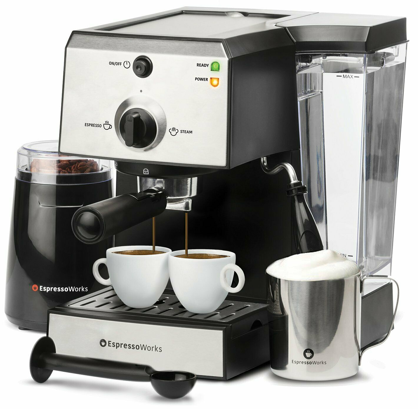 All In 1 Espresso Machine Cappuccino Coffee Maker With Grinder And Milk Frother