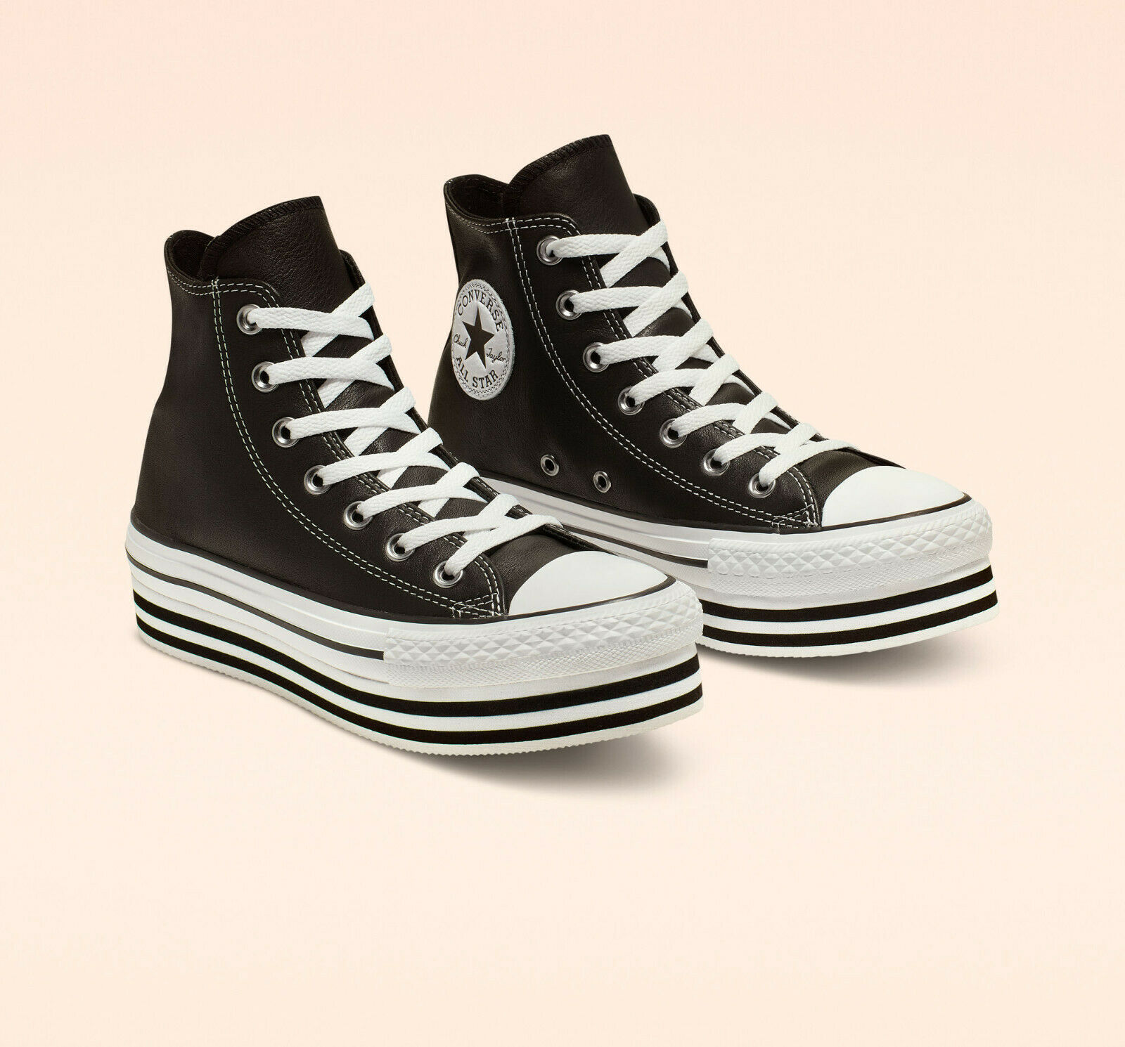 Details about NEW Converse Chuck Taylor All Star Platform High Top Black Leather Women's 6.5