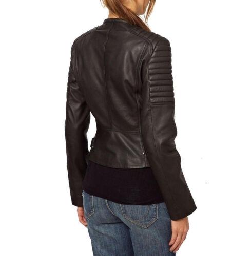 Motorcycle Fit Leather Jacket Short Black Slim Women Biker Ladies RaIqpx