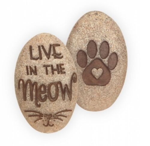 """**FREE SHIPPING** *NEW* /""""Live In The Meow/"""" Angel Star Paw Stones"""