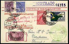 97/Zeppelin Brasilien 1933 7. Südamerikafahrt R-Postkarte Wiesbaden Si 233 A
