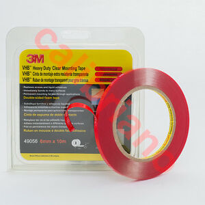 3M 1/4in x 30ft VHB Heavy Duty Mounting Clear Adhesive Tape 49056 thick 0.5 mm