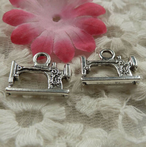 Free ship 45 pieces Antique silver Sewing Machine charms 19x15mm H-4184