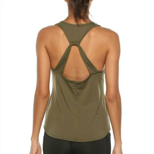 Women Yoga Tank Tops Open Back Vest Ladies Sports Gym Fitness Casual Shirts UK