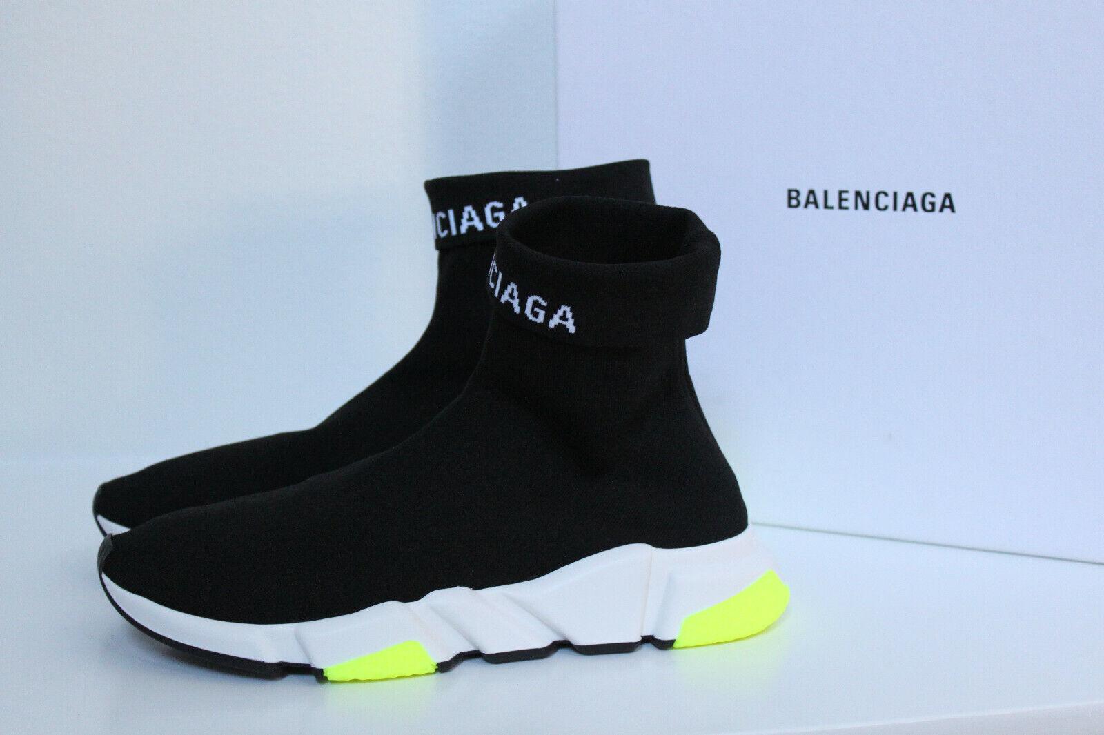 New sz 10 US   43 BALENCIAGA nero Logo Speed High-Top Sock scarpe da ginnastica Men scarpe