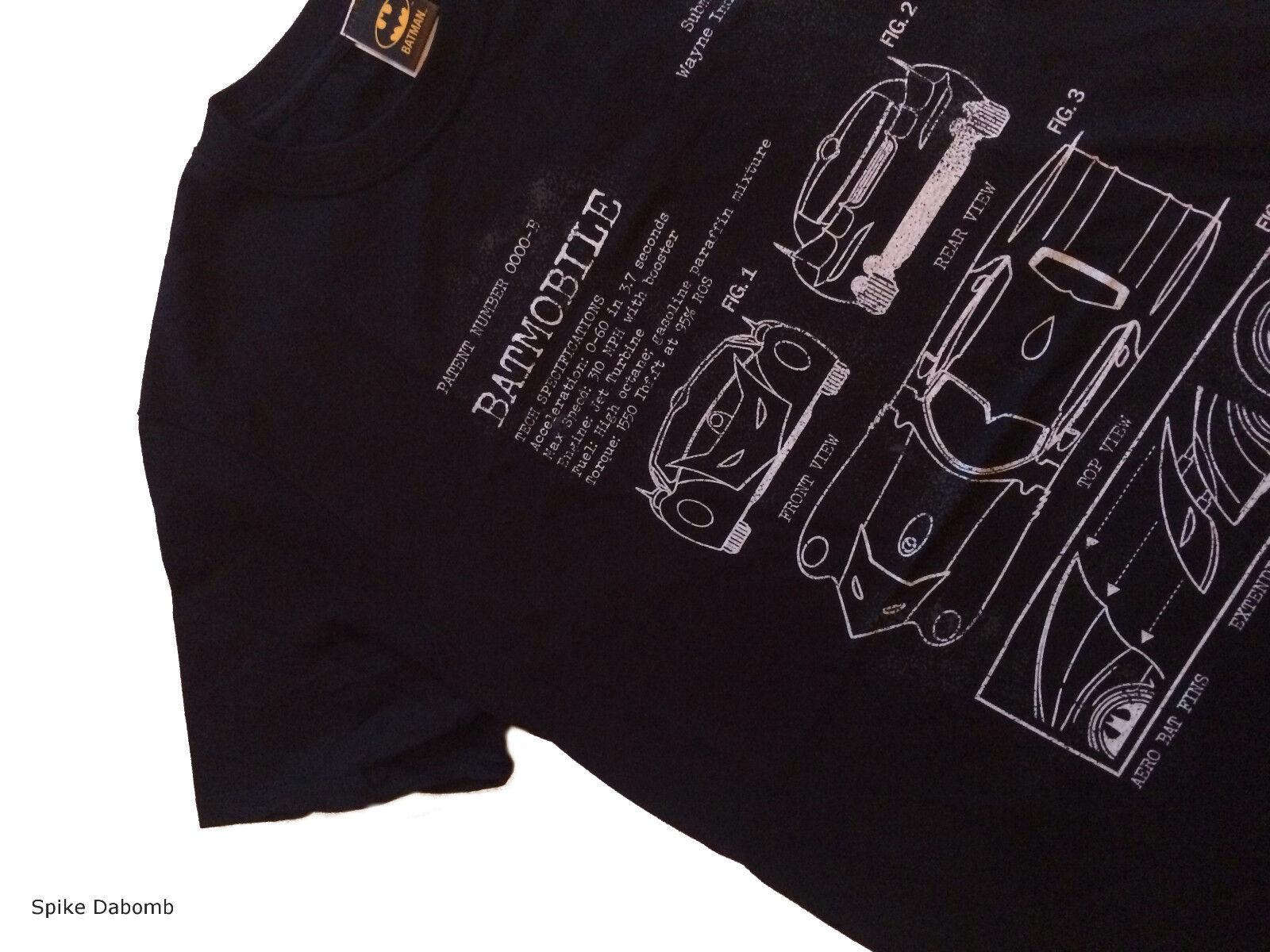 Officiel DC Industries Comics-Batman Batmobile Wayne Industries DC Plan T-shirt noir (neuf) bdd288