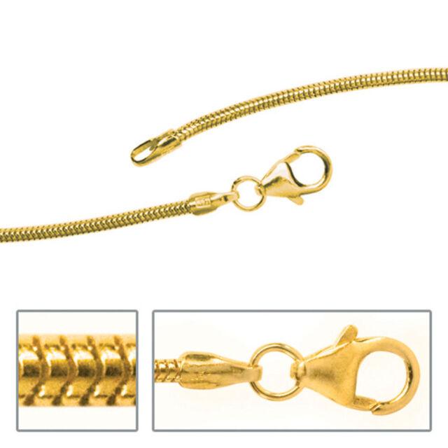 Damen Schlangenkette 585 Gelbgold 1,4 mm 38 cm Gold Kette Halskette Goldkette