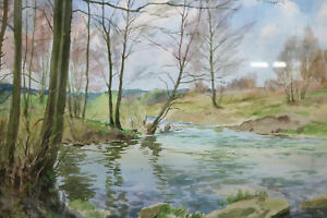 Gustav-Mueller-Aquarell-Hochwassergraben-bei-Katzwang-4-April-1953