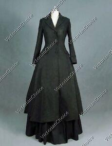 Victorian-Edwardian-Sherlock-Holmes-Black-Theater-Steampunk-Punk-Coat-Dress-C002