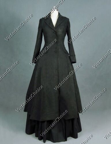 Victorian Inspired Womens Clothing   Gothic Victorian Black Dress Coat Steampunk Punk Game Of Thrones Costume C002 $189.00 AT vintagedancer.com
